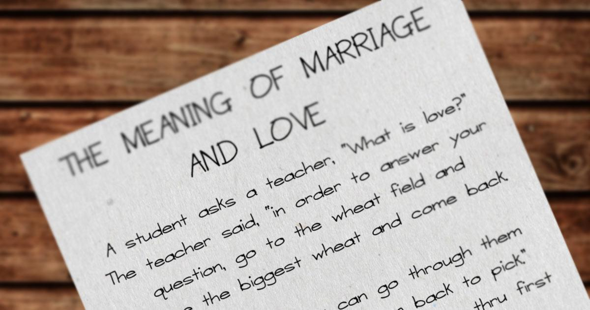 Story: What is Love & What is Marriage