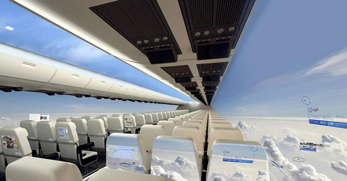 The Future of Transportation - Windowless Planes with Panoramic View of the Sky